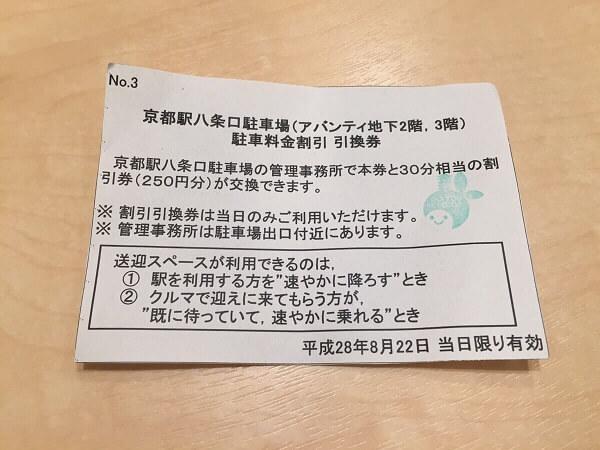 京都駅八条口駐車場引換券