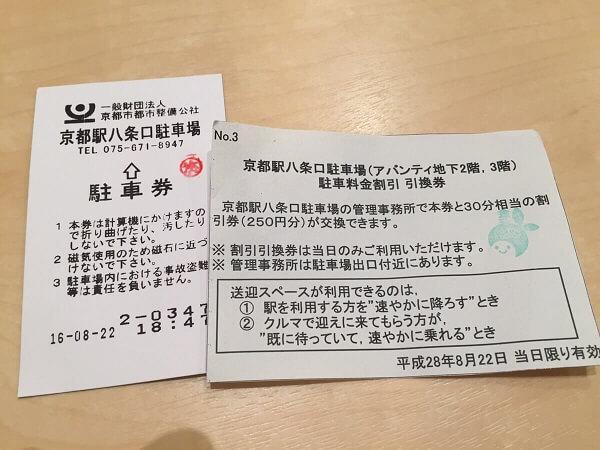 京都駅八条口駐車場駐車券
