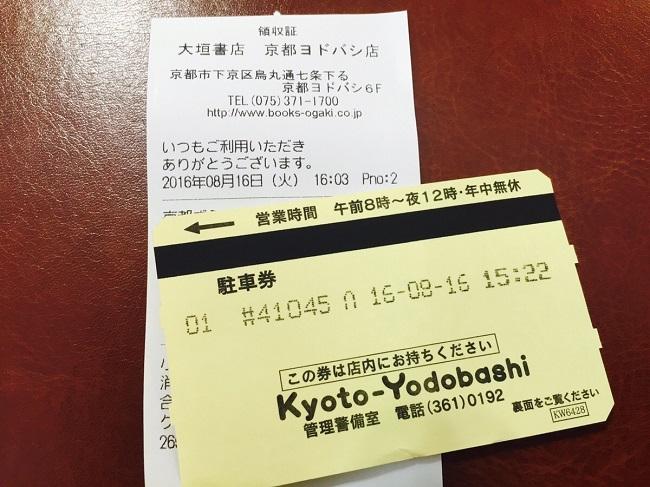 京都ヨドバシカメラ駐車券